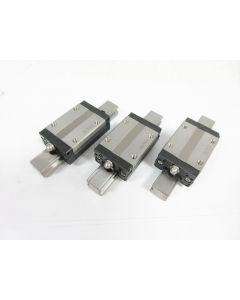 LOT of 3 THK SSR15 / SSR 15, 3 TTL GUIDE CARRIAGE + LINEAR GUIDE RAIL L: 99.5 mm