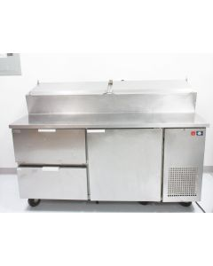"""KOOLAIRE KPTS-2D 67"""" REFRIGERATED PREP TABLE WITH 2 LID 2 DRAWERS 1 DOOR PIZZA"""